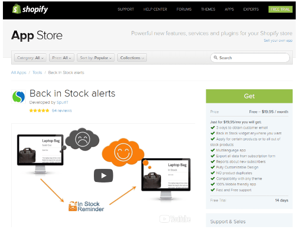 Shopify Back in Stock Alert