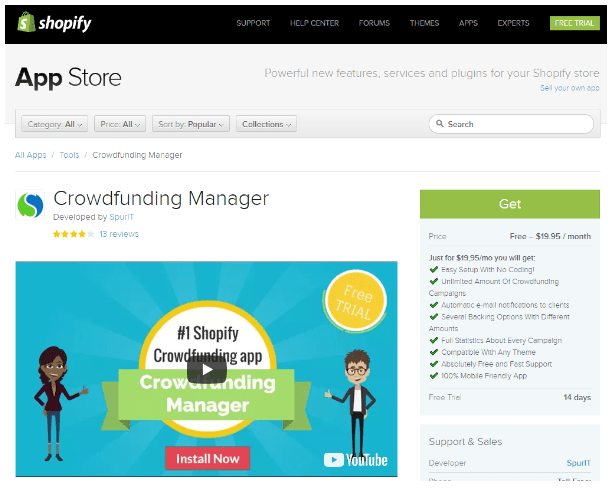 Shopify Crowdfunding Manager