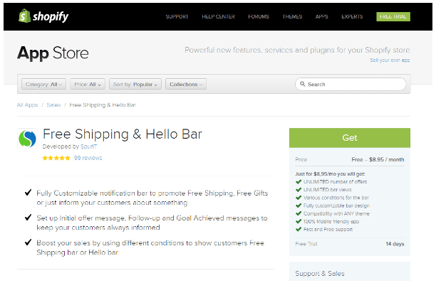 Shopify Free Shipping Hello Bar