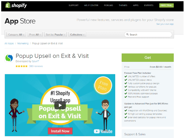Shopify Popup Upsell Exit Visit