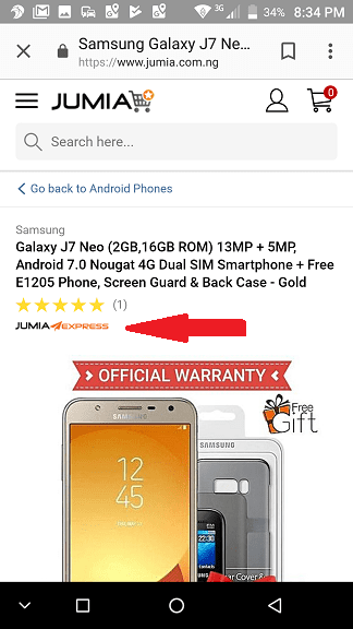 Jumia Express Label on a Product page on Mobile