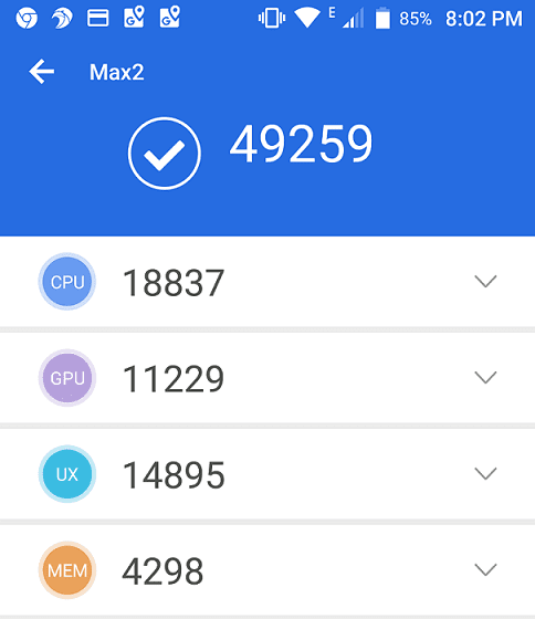 AnTuTu Benchmark score for Uhans Max 2