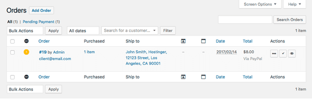WooCommerce Product Orders page
