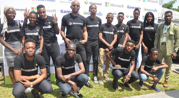 Uzoma Dozie, CEO , Diamond Bank Plc and some Cool Teens at the Launch of Dreamville (An  Educational and Gamification platform designed for youths) held in Lagos recently