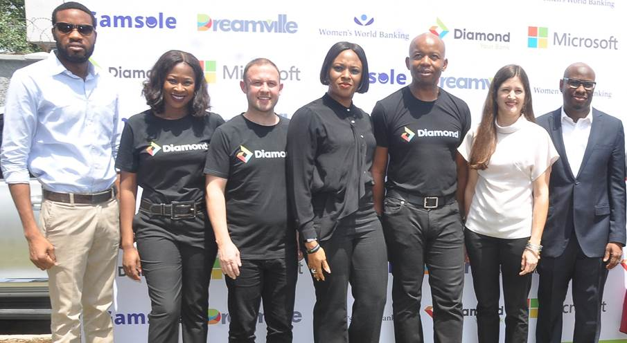 L  –  R : Abiola Olaniran, Founder  & CEO, Gamsole; Adaeze Ume, Head, Youth Segment; Robert Giles, Head, Retail Banking; Chioma Afe, Head, Corporate Communications; Uzoma Dozie, CEO, all of Diamond Bank Plc; Ryan Newton, Manager Strategic Advisory, Women World Banking; and Wale Olakodona, Director, Enterprise Commercial, Microsoft Nigeria at the Launch of Dreamville (An  Educational and Gamification platform designed for youths) held in Lagos recently.