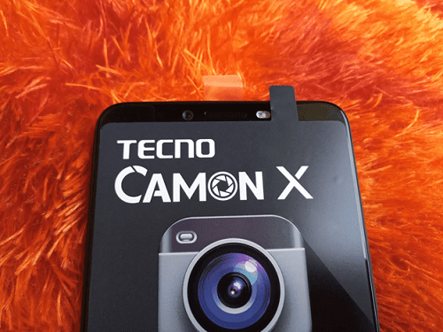 Tecno Camon X showing the 16MP front camera