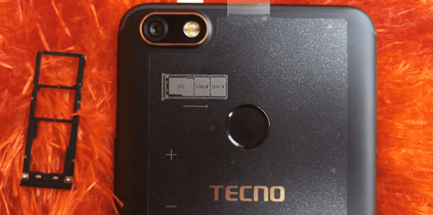 Tecno Camon X showing the tray for the dual Nano SIM cards and memory card