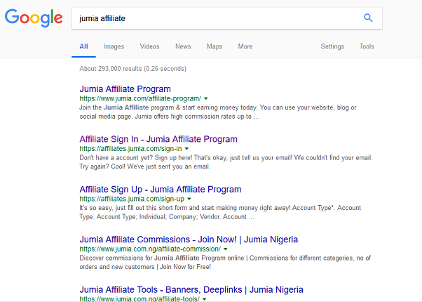 Search Jumia Affiliate on Google