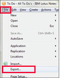 3. From the Menu, click on File and select the Export option - Lotus Notes