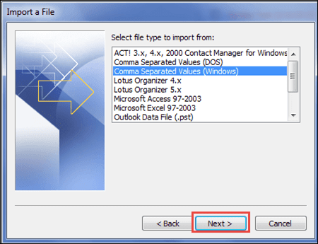 After that, from the next window, select Comma Separated Values(Windows) option from the list and click Next - Lotus Notes