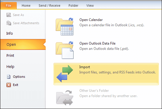 Now, launch Microsoft Outlook program and click File. Select the Open from the drop-down menu and pick Import option - Lotus Notes