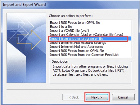"The Import and Export Wizard will open on the screen. Select ""Import from another program or file"" option from the list and then, click Next - Lotus Notes"