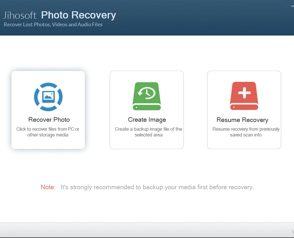 "Jihosoft, choose ""Recover Photo"" option"