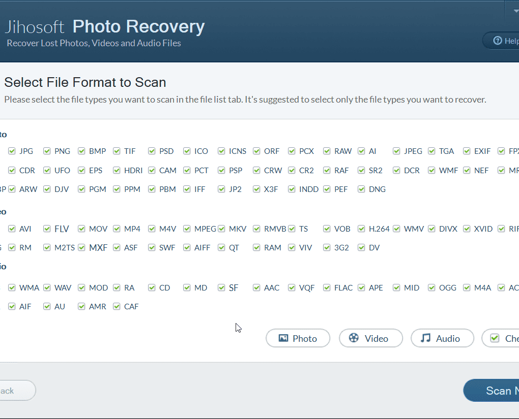 2. Select a media for recovery
