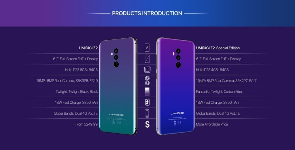 UmiDigi Z2 Special Edition Differences