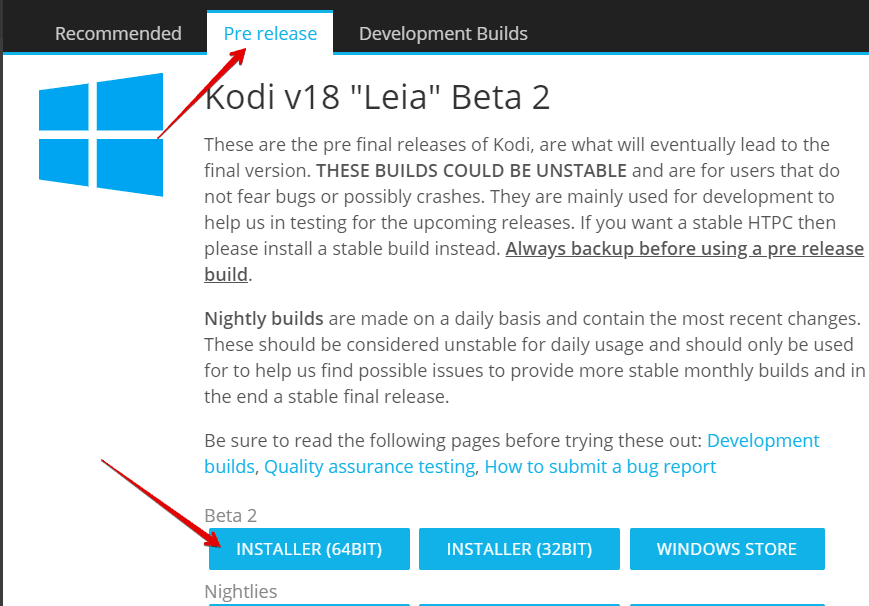 Update Kodi v18 on Windows 10