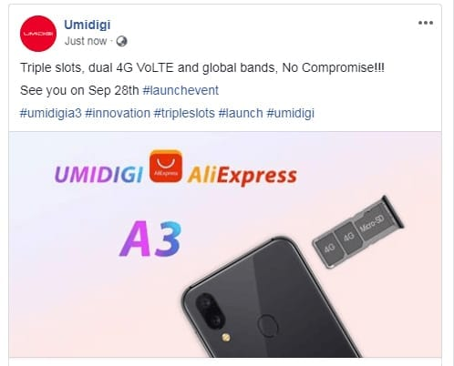 UMIDIGI A3 with Triple Slots, Dual 4G VoLTE and Global Bands will