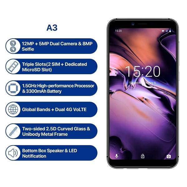 UMIDIGI A3 Specs and Features