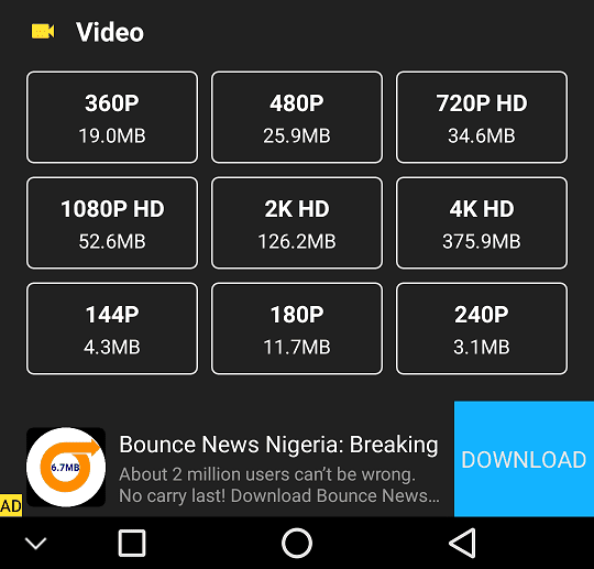 Download Resolution Options Video on Snaptube