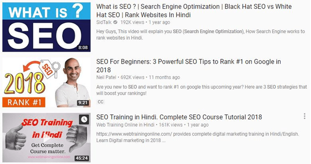 YouTube Thumbnails on YouTube Search Result Page