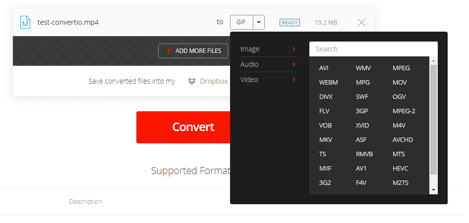 Video Formats - Convertio Online Video Converter