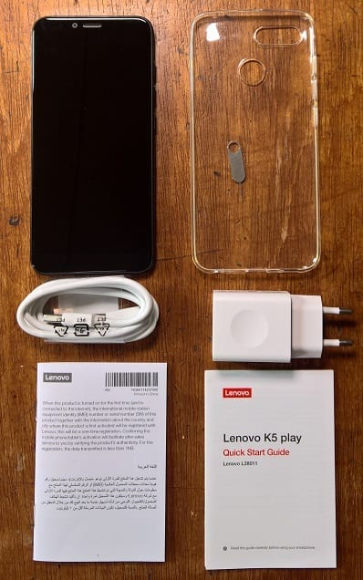 Inside the Lenovo K5 Play Box you find the Charger, Phone Cover, SIM ejector Pin, etc