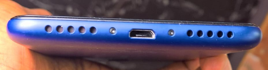 Nokia 3.1 Plus bottom side showing the microUSB slot and grilles for speaker and microphone