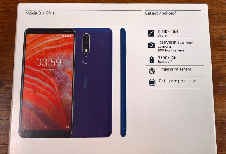 Back of Nokia 3.1 Plus showing key specs