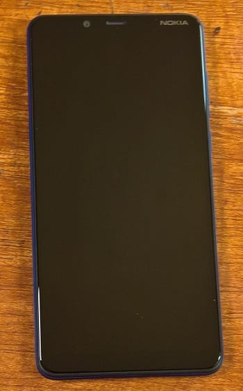 Nokia 3.1 Plus Front view showing the 8MP selfie camera