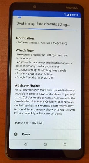 Android 9 Pie Update waiting for Nokia 3.1 Plus
