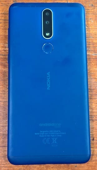 Nokia 3.1 Plus rear view showing the dual 13MP + 5MP cameras, flash and fingerprint sensor