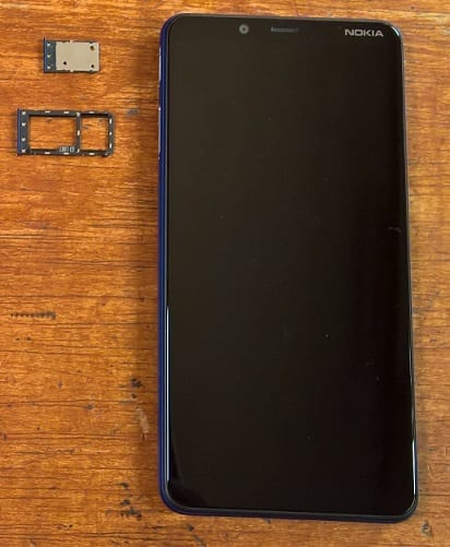Nokia 3.1 Plus showing the SIM and memory card trays