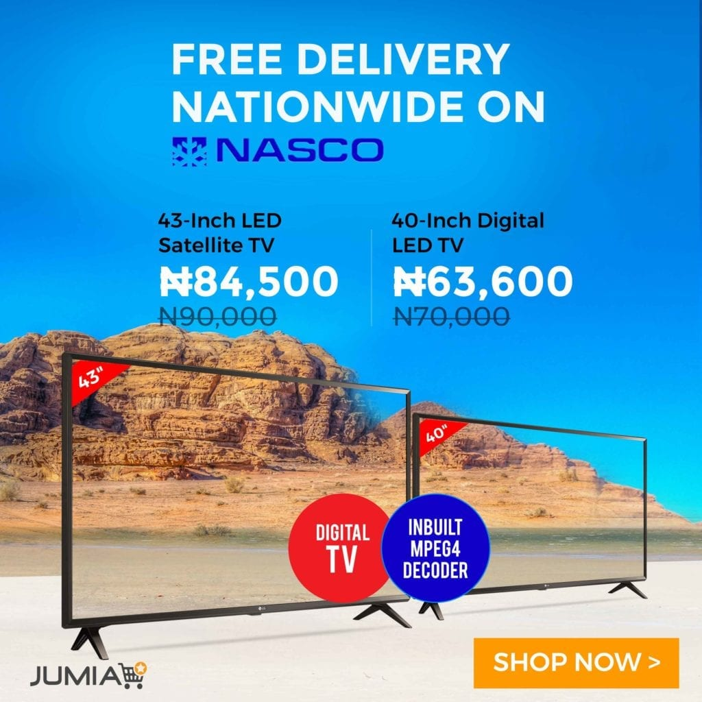 Jumia Nasco TV Deals with Free Shipping