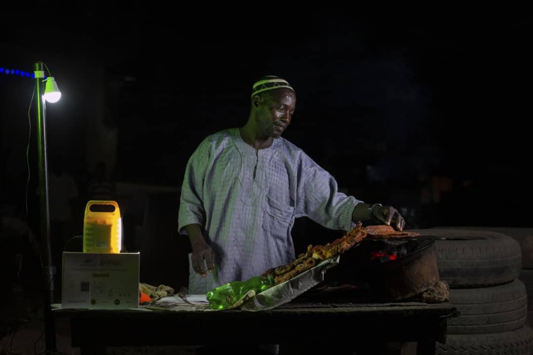 Suya Seller using Salpha Solar Home System