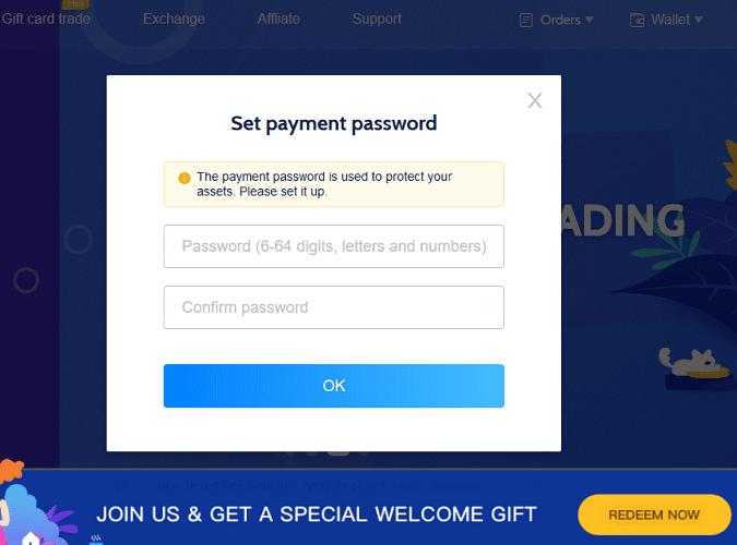 Set CoinCola Payment Password