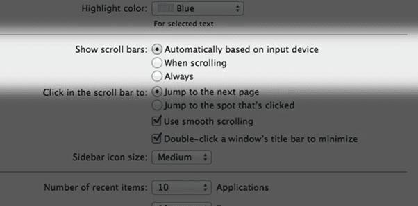 Scroll Bar Settings for Mac