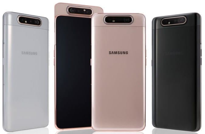 Samsung Galaxy A80 showing the camera with motorized popup and rotate function