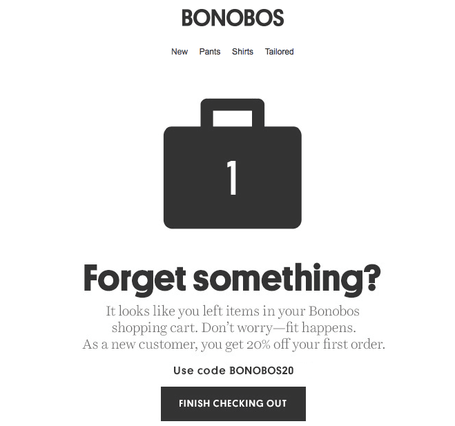 Bonobos Abandoned Cart Example of Email Marketing Trends