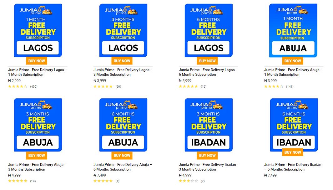 Jumia Prime, Free Delivery to Lagos, Abuja, Ibadan