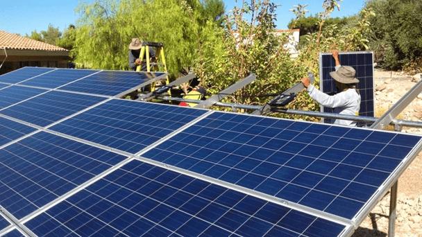 Solar Panels Installed Outside