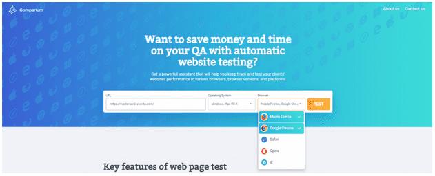 Selecting Browser in Comparium Website Testing Tool