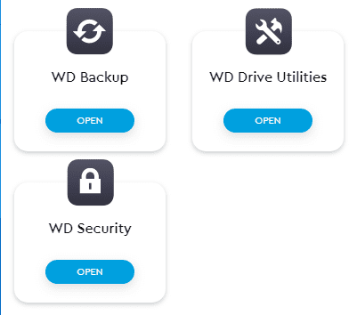 Shortcuts after installing WD Security, WD Backup, and WD Drive Utilities