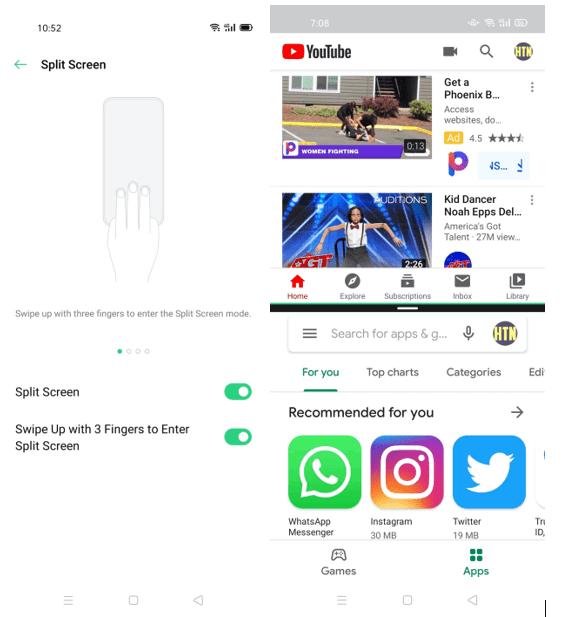 Three Finger Swipe for Split Screen on Oppo A92