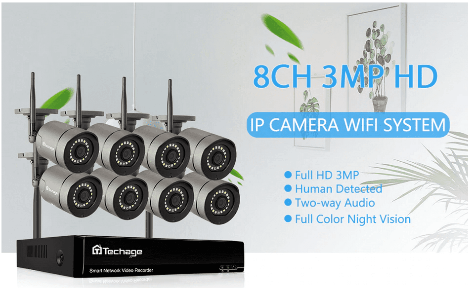 Techage 8CH 1080p HD Wireless CCTV Camera Security System