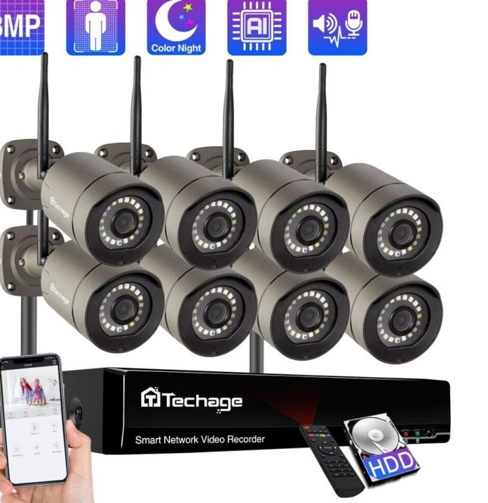 Techage 8CH Wireless CCTV Camera Security System
