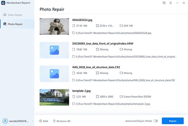 Wondershare RepairIt Screenshot